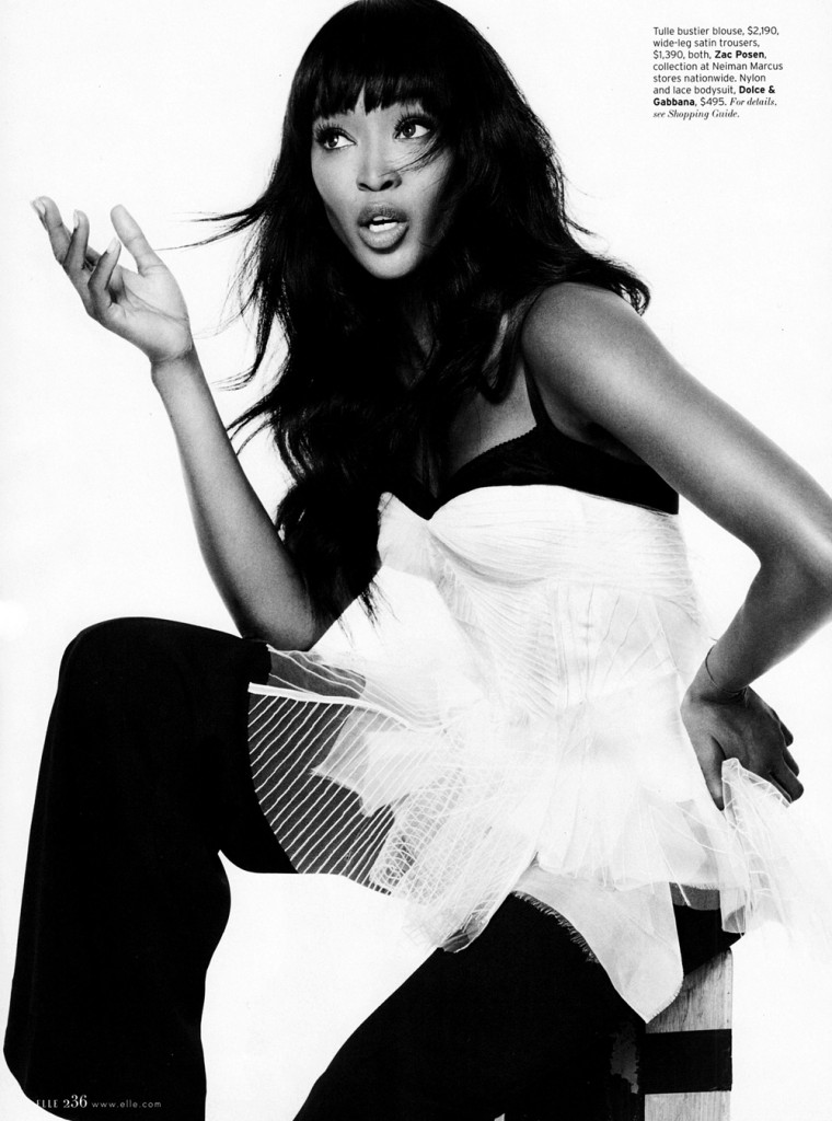 naomi campbell elle magazine white top