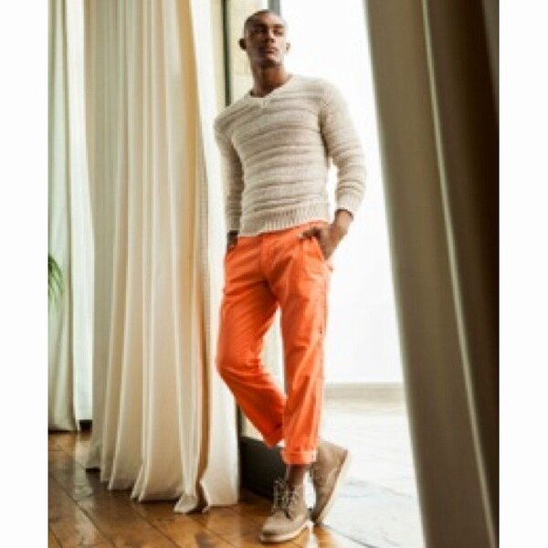 diddy nyfw spring orange pants